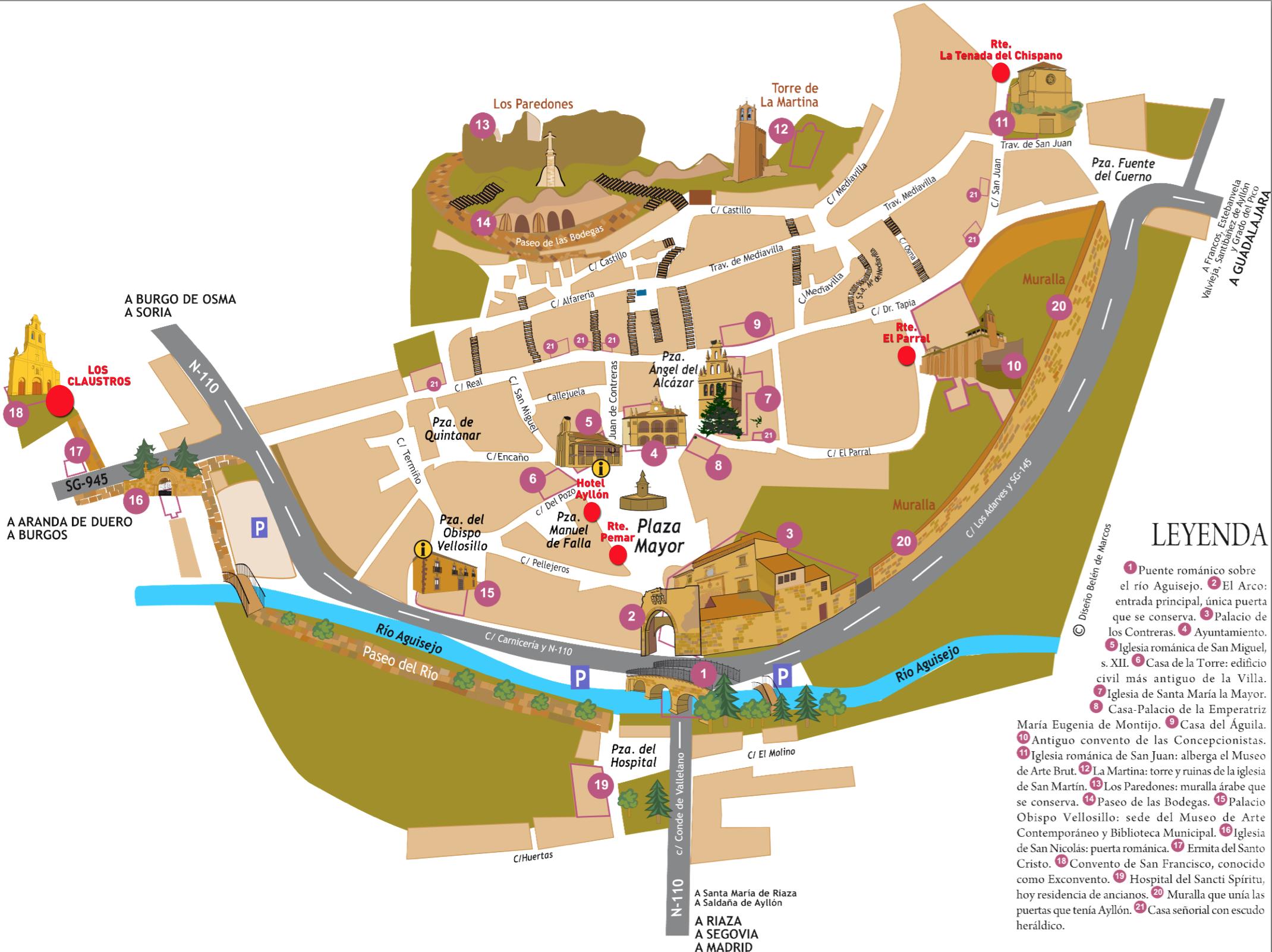Aranda Del Duero Mapa.Plano De Aranda De Duero